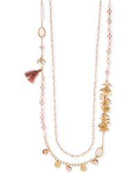 Lonna & Lilly - Gold-tone Multi-stone Tassel Double Strand Necklace - Lyst