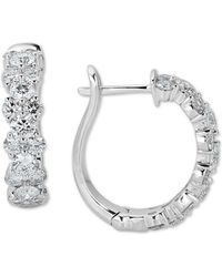 Macy's - Diamond Hoop Earrings (2 Ct. T.w) In 14k White Gold - Lyst