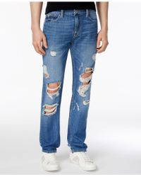 Guess - Men's Slim-fit Ripped Tapered Jeans - Lyst