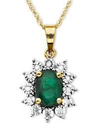 Macy's - 10k Gold Necklace, Emerald (7/8 Ct. T.w.) And Diamond Accent Pendant - Lyst