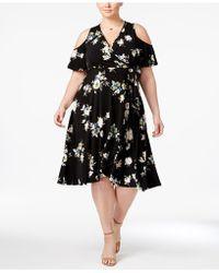 30e89c35f40 Soprano - Trendy Plus Size Floral-print Cold-shoulder Dress - Lyst