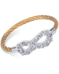 Charriol - Laetitia White Topaz-accent Infinity Two-tone Pvd Stainless Steel Cable Ring - Lyst