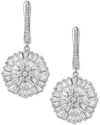 Macy's - Cubic Zirconia Baguette Snowflake Drop Earrings In Sterling Silver - Lyst
