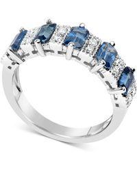 Macy's - Sapphire (3-1/6 Ct. T.w.) & Diamond (1/6 Ct. T.w.) Ring In 14k White Gold - Lyst