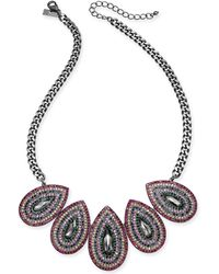 "INC International Concepts - I.n.c. Hematite-tone Multicolor Crystal Oval Statement Necklace, 20"" + 3"" Extender, Created For Macy's - Lyst"