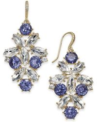 Charter Club - Gold-tone Blue & Clear Crystal Drop Earrings - Lyst