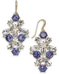 Charter Club | Gold-tone Blue & Clear Crystal Drop Earrings | Lyst