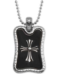 """Macy's - Cross Dog Tag 24"""" Pendant Necklace In Stainless Steel & Black Ion-plate - Lyst"""