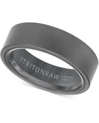 Triton - Men's Band In Tungsten With Black Nano-tech Coating - Lyst
