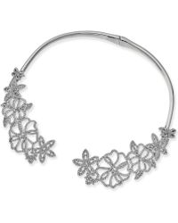 "INC International Concepts - I.n.c. Woman Silver-tone Pavé Flower 5-4/5"" Collar Necklace, Created For Macy's - Lyst"