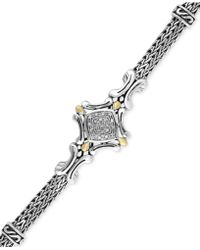 Effy Collection - Diamond Accent Curve Detail Bracelet In Sterling Silver And 18k Gold - Lyst