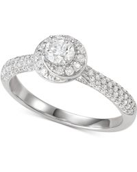 Macy's - Diamond Halo Engagement Ring (3/4 Ct. T.w.) In 14k White Gold - Lyst