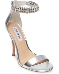 Rando Rhinestone Ankle Strap Metallic Pumps