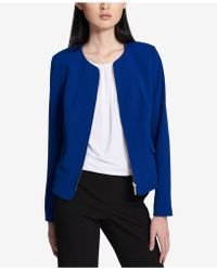 Calvin Klein   Collarless Crepe Zip-front Blazer   Lyst