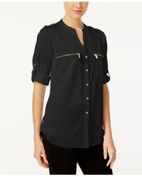 CALVIN KLEIN 205W39NYC - Roll-tab-sleeve Zip-pocket Blouse - Lyst