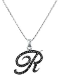 "Macy's - Sterling Silver Necklace, Black Diamond ""r"" Initial Pendant (1/4 Ct. T.w.) - Lyst"