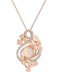 Le Vian - Morganite (3-2/5 Ct. T.w.), Opal (2-9/10 Ct. T.w.) And White Topaz (7/10 Ct. T.w.) Pendant Necklace In 14k Rose Gold - Lyst