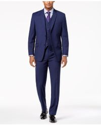 Marc New York - Modern-fit Stretch Navy Neat Vested Suit - Lyst