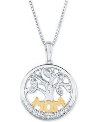 """Macy's - Diamond Family Tree Mom 18"""" Pendant Necklace (1/10 Ct. T.w.) In Sterling Silver And 14k Gold - Lyst"""