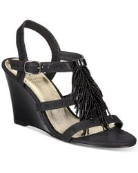 Adrianna Papell - Adair Fringe Wedge Evening Sandals - Lyst