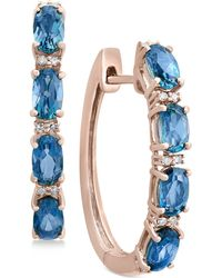 Effy Collection - London Blue Topaz (2-1/2 Ct. T.w.) & Diamond Accent Hoop Earrings In 14k Rose Gold - Lyst