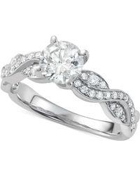 Macy's - Diamond Overlap Engagement Ring (1-1/4 Ct. T.w.) In 14k White Gold - Lyst