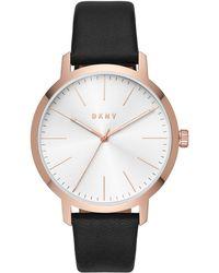 DKNY - Modernist Black Leather Strap Watch 44mm - Lyst