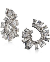 Carolee | Silver-tone Cubic Zirconia Spiral Clip-on Hoop Earrings | Lyst