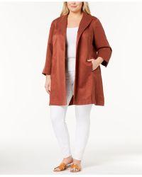 Eileen Fisher - Plus Size Silk-linen Open-front Coat - Lyst