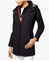Vince Camuto - Hooded Contrast-trim Raincoat - Lyst