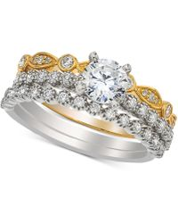 Macy's - Diamond Bridal Set (1 Ct. T.w.) In 14k White And Yellow Gold - Lyst