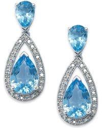 Macy's - Sterling Silver Earrings, Blue Topaz (6-1/2 Ct. T.w.) And Diamond (1/5 Ct. T.w.) Pear Drop Earrings - Lyst