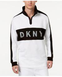 DKNY - Colorblocked Reflective Logo 1/4-zip Fleece Sweatshirt - Lyst