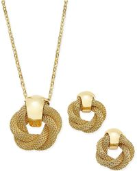 Charter Club - Gold-tone Twisted Knot Pendant Necklace And Earrings Set - Lyst