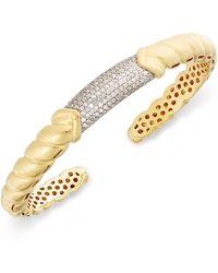 Macy's - Diamond Pavé Bar Twist Cuff Bracelet (7/8 Ct. T.w.) In 14k Gold-plated Sterling Silver - Lyst