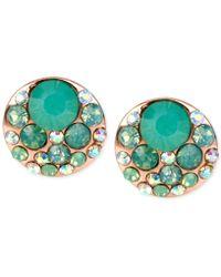 Betsey Johnson | Rose Gold-tone Blue Crystal Stud Earrings | Lyst