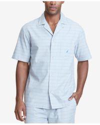 Nautica - Windowpane Plaid Cotton Pajama Shirt - Lyst