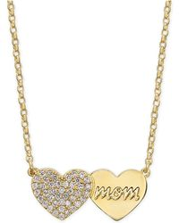 "Kate Spade - Gold-tone Pavé Heart Mom Pendant Necklace, 17"" + 3"" Extender - Lyst"