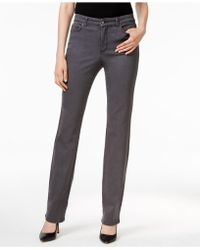 Charter Club | Petite Lexington Slate Grey Wash Straight-leg Jeans, Only At Macy's | Lyst