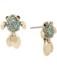Betsey Johnson - Gold-tone Pavé Fish Stud Earrings - Lyst