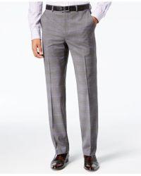 Sean John | Men's Classic-fit Stretch Gray/purple Windowpane Plaid Suit Trousers | Lyst