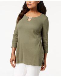 Karen Scott - Split-neck Tunic Top, Created For Macy's - Lyst