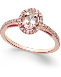 Macy's | Morganite (5/8 Ct. T.w.) And Diamond (1/6 Ct. T.w.) Ring In 14k Rose Gold | Lyst