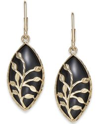 Macy's - Onyx Marquise Vine Drop Earrings In 14k Gold - Lyst