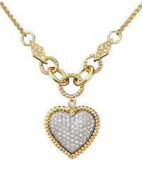 Effy Collection - Diamond Pavé Diamond Heart Pendant (3/4 Ct. T.w.) In 14k Gold And 14k White Gold - Lyst