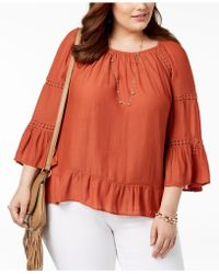fad770980c2b8 Lyst - Jessica Simpson Trendy Plus Size Semi-sheer Cold-shoulder Top