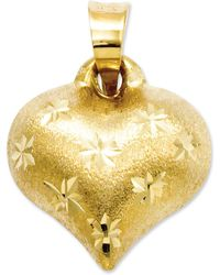 Macy's - 14k Gold Charm, Satin And Diamond-cut Puffed Heart Charm - Lyst