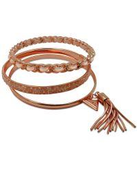 Guess - Gold-tone 3-pc. Set Black Bead & Faux Suede Bangle Bracelets - Lyst