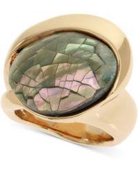 Robert Lee Morris - Gold-tone Black Mother-of-pearl Mosaic Ring - Lyst