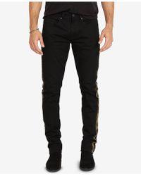 Buffalo David Bitton - Slim-fit Camo Side-stripe Black Jeans - Lyst